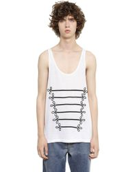 Ports 1961 - Military Details Cotton Blend Tank Top - Lyst