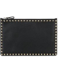 Valentino - Medium Rockstud Grained Leather Pouch - Lyst