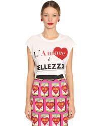 Dolce & Gabbana - Printed Cotton Jersey Sleeveless T-shirt - Lyst