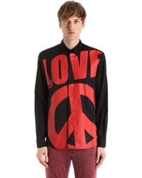 Love Moschino - Macro Logo Stretch Cotton Poplin Shirt - Lyst