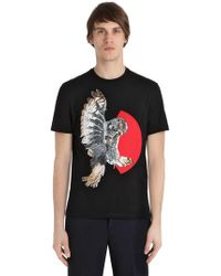 Neil Barrett - T-shirt In Jersey Di Cotone Stampa Gufo - Lyst