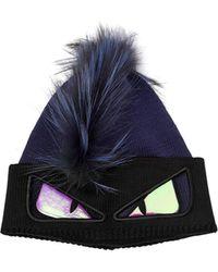Fendi - Monster Knit & Fur Beanie Hat - Lyst