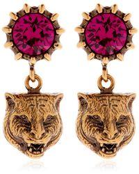 Gucci | Feline Head & Crystal Earrings | Lyst