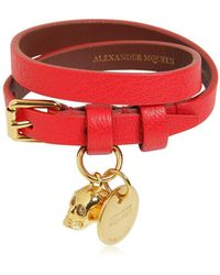 Alexander McQueen - Double Leather Bracelet - Lyst
