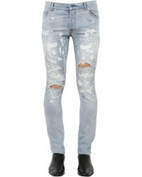 Balmain - 17cm Skinny Destroyed Denim Jeans - Lyst