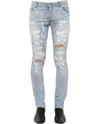 Balmain 17cm Skinny Destroyed Denim Jeans