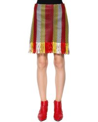 DROMe - Woven & Fringed Nappa Leather Mini Skirt - Lyst