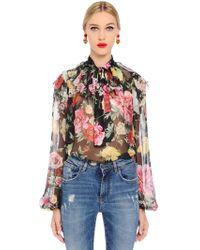 Dolce & Gabbana - Roses Printed Silk Chiffon Shirt - Lyst