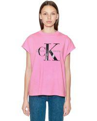 Calvin Klein - Ck Logo Printed Cotton T-shirt - Lyst