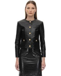 Gucci - Croc Embossed Leather Jacket - Lyst