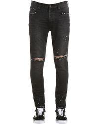 Purple - Slim Fit Sprayed & Destroyed Denim Jeans - Lyst
