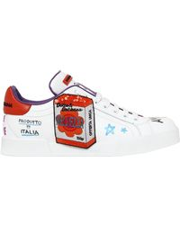 Dolce & Gabbana - 20mm Graffiti & Patches Leather Trainers - Lyst