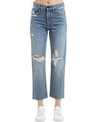 Rag & Bone - Straight Destroyed Cotton Denim Jeans - Lyst
