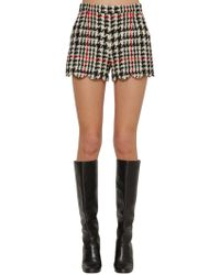 RED Valentino Scalloped Hem Prince Of Wales Shorts