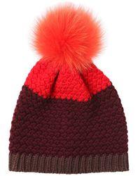 Etro   Knitted Beanie Hat W/ Fur Pompom   Lyst
