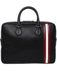 Bally | Pebbled Leather Briefcase W/ Stripes | Lyst