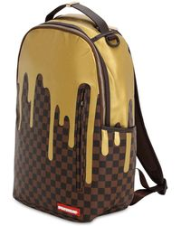 Sprayground - Gold Checkered Faux Leather Backpack - Lyst