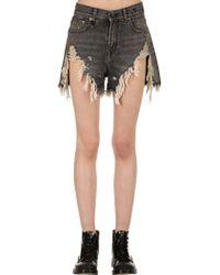 R13 - High Waist Destroyed Denim Shorts - Lyst