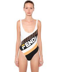 Fendi - Mania Logo Printed Lycra Swimsuit - Lyst