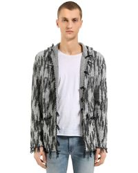 Saint Laurent - Hooded Linen & Wool Jacquard Cardigan - Lyst