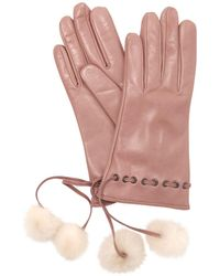 Mario Portolano - Leather Gloves W/fur Pompoms - Lyst