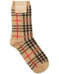 Burberry - Check Cotton & Nylon Socks - Lyst