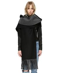 Mackage - Ada Hooded Leather Fringe Scarf - Lyst