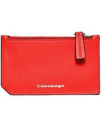 Mackage - Taj Leather Zip Cardholder In Flame - Lyst