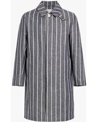 Mackintosh - Navy Striped Linen Storm System Coat - Lyst