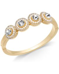 Charter Club - Gold-tone Crystal & Imitation Pearl Cluster Bangle Bracelet, Created For Macy's - Lyst