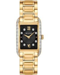 Bulova - Women's Diamond Accent Gold-tone Stainless Steel Bracelet Watch 22x35mm 98r228 - Lyst