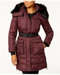 French Connection - Faux-fur-trim Belted Coat - Lyst
