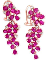 Effy Collection | Ruby (7-1/4 Ct. T.w.) And Diamond (3/4 Ct. T.w.) Earrings In 14k Rose Gold | Lyst