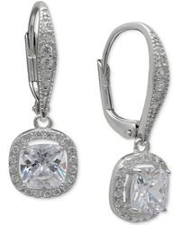 Giani Bernini - Cubic Zirconia Halo Drop Earrings In Sterling Silver, Created For Macy's - Lyst