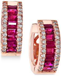Effy Collection - Ruby (1-1/2 Ct. T.w.) And Diamond (3/8 Ct. T.w.) Earrings In 14k Rose Gold - Lyst