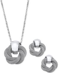 Charter Club - Silver-tone Twisted Knot Pendant Necklace And Earrings Set - Lyst