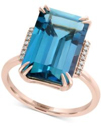 Effy Collection | London Blue Topaz (9-3/4 Ct. T.w.) & Diamond Accent Ring In 14k Rose Gold | Lyst