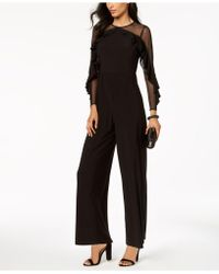 R & M Richards - Petite Illusion Ruffle Jumpsuit - Lyst