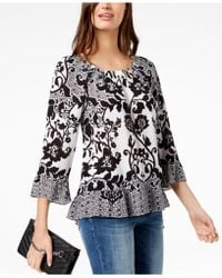 INC International Concepts - I.n.c. Petite Printed Ruffle-hem Peasant Top, Created For Macy's - Lyst