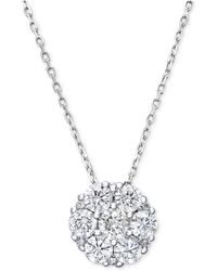 Macy's | Diamond Flower Cluster Pendant Necklace In 14k White Gold (1/4 Ct. T.w.) | Lyst