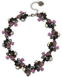 "Betsey Johnson - Hematite-tone Crystal & Stone Skull Collar Necklace, 17"" + 3"" Extender - Lyst"