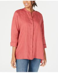 2d86c83710a Eileen Fisher Silk Georgette Crepe Stand Collar Shirt in Red - Lyst