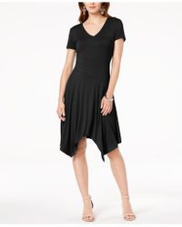 INC International Concepts - I.n.c. Short-sleeve Handkerchief-hem Dress, Created For Macy's - Lyst