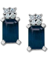 Macy's - Sapphire (1-3/8 Ct. T.w.) & Diamond Accent Stud Earrings In 14k White Gold - Lyst
