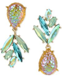 Betsey Johnson - Gold-tone & Stone Pineapple Mismatch Drop Earrings - Lyst