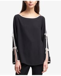 DKNY - Boat-neck Contrast Tie-sleeve Top, Created For Macy's - Lyst