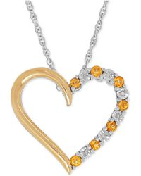 Macy's - Citrine (1/4 Ct. T.w.) And Diamond Accent Heart Pendant Necklace In Sterling Silver And 14k Gold - Lyst