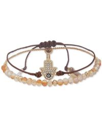 Lonna & Lilly - Gold-tone Crystal Hamsa Hand Bead And Cord Bolo Bracelet, Created For Macy's - Lyst