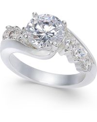 Charter Club - Cushion-cut Crystal Stone & Pavé Twist Ring, Created For Macy's - Lyst