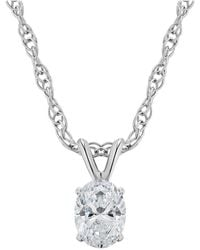 Macy's - Certified Oval Diamond Solitaire Pendant Necklace (1/4 Ct. T.w.) In 14k White Gold Or Yellow Gold - Lyst